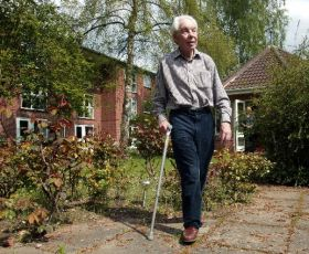 Elderly man enjoying stroll around Red Lodge