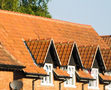 Rooftops of houses in New Earswick